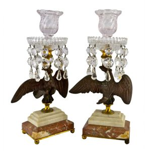 Bronze and Crystal Eagle Candlesticks