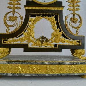 Marble and Gilt Bronze Clock After Deverberie