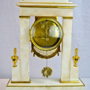 White Marble and Gilt Bronze Portico Clock
