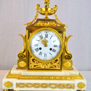 Louis XVI Style Marble And Gilt Bronze Clock
