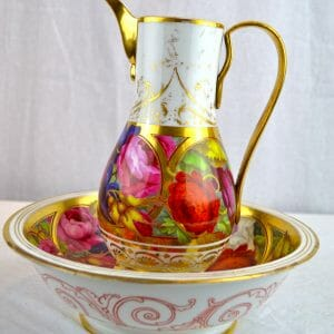 Paris Porcelain Floral Ewer and Basin