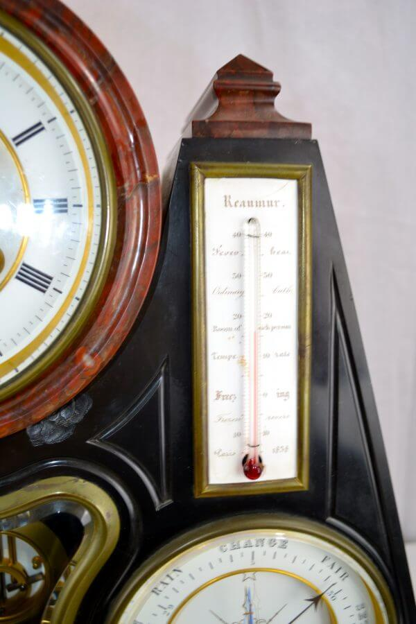 Black and Rouge Marble Clock with Multiple Complications