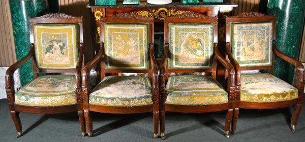 Six Period French Empire Open Armchairs