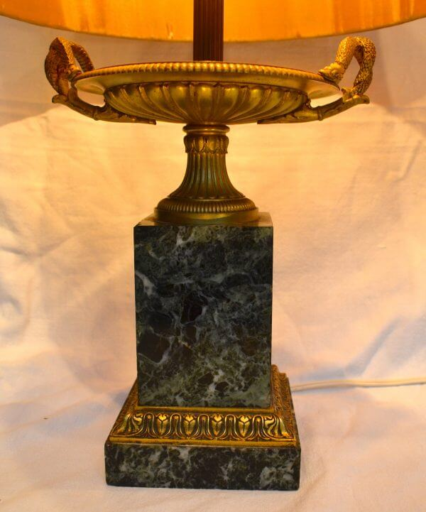 Empire Marble and Bronze Tazza Lamps