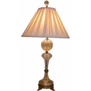 Egyptian Revival Crystal and Bronze Lamp