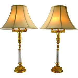 Empire Style Gilded Cut Crystal Lamps