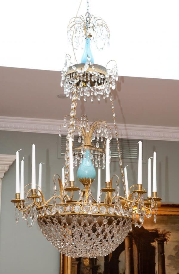 Baltic Empire Turquoise Glass Crystal Gilt Bronze Chandelier
