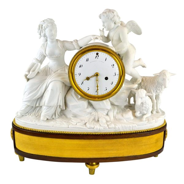 Louis XVI Bisque Shepherdess Clock