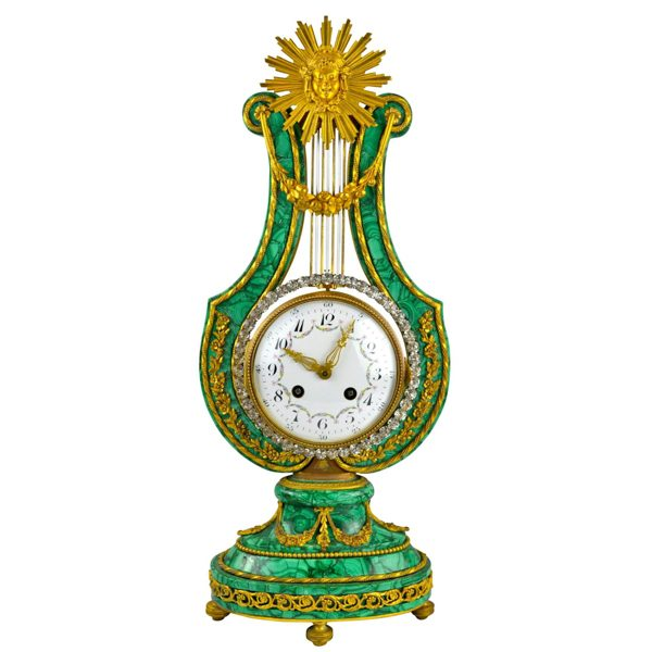 Louis XVI Style Malachite Lyre Clock