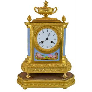 NAPOLEON III GILT BRONZE AND PORCELAIN CLOCK