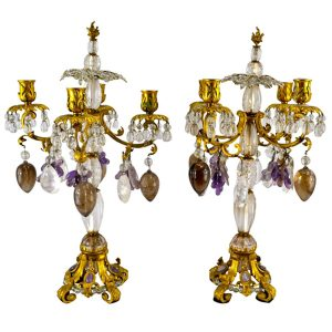 Rock Crystal and Amethyst Candlelabra