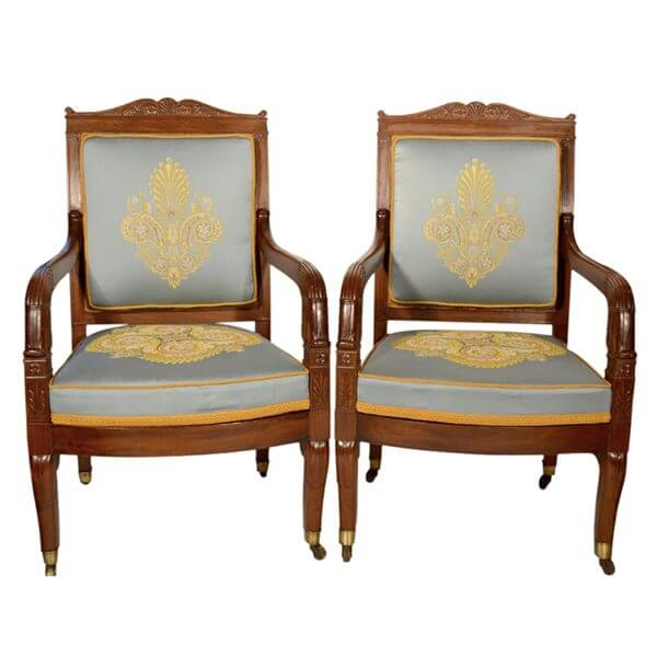 Set of six Consulat Period 1799-1804 open arm chairs