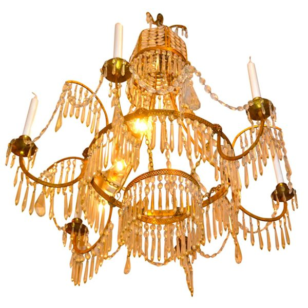Swedish Empire Style Crystal and Gilt Bronze Chandelier