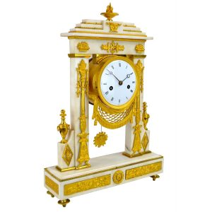 Marble and Gilt Bronze Portico Clock