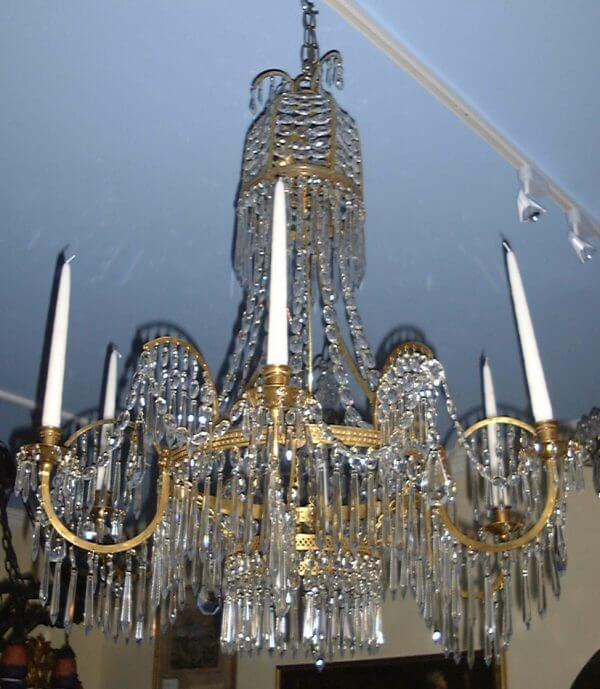 Swedish Empire Style Crystal and Git Bronze Chandelier
