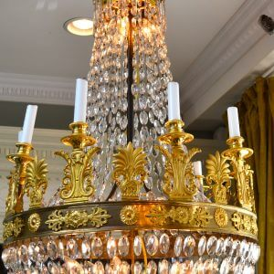 Empire Gilt Bronze and Crystal Chandelier