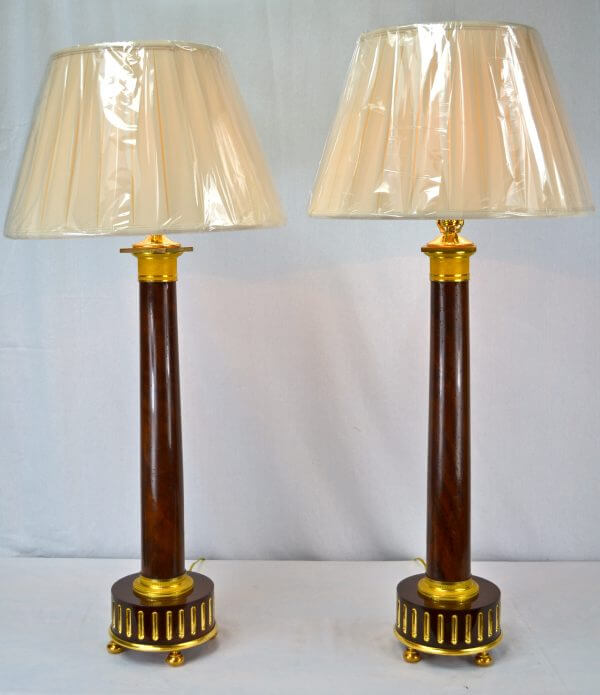 Empire Mahogany Column Lamps
