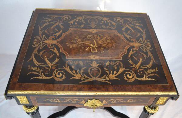 Napoleon III Marquetry Drop Leaf Table