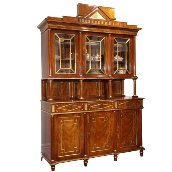 Imperial Russian Mahogany and Brass Bookcase