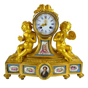 Louis XV Ormolu and Porcelain Putti Clock