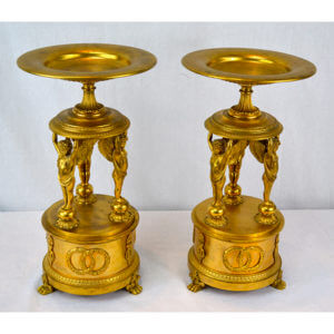 Pair of Empire Gilt Bronze Tazzas