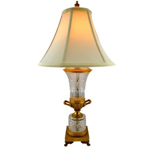 Small Cut Crystal and Ormolu Classical Lamp