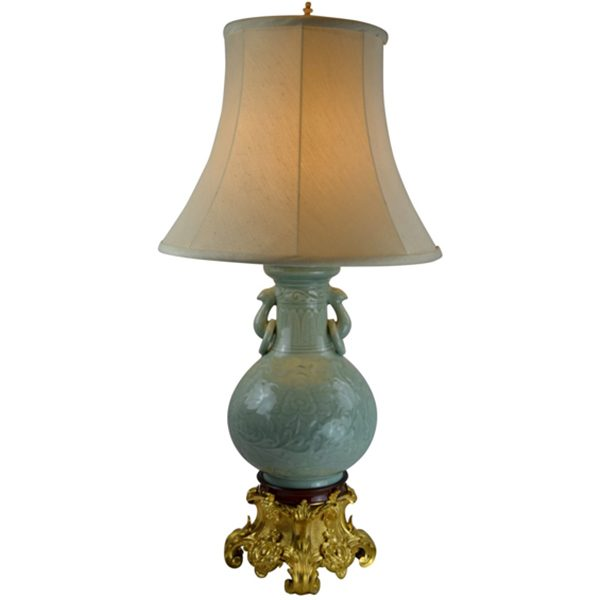 Chinese Celadon Vase Lamp With A Gilt Bronze Base Three