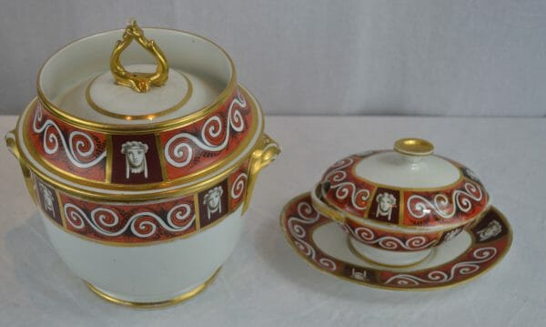 Regency Coalport Fruit Cooler and Lidded Sauce Tureen