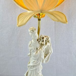 Blanc De Chine Lamp with a Lotus Flower Shade