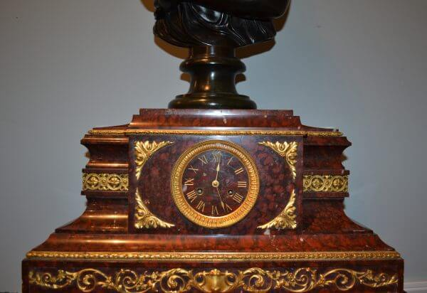 Marble and Gilt Bronze Clock After Pradier