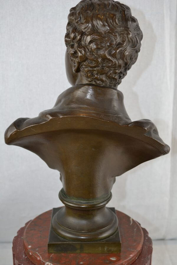 Lord Byron Bronze Atop a Marble and Gilt Bronze Clock Base
