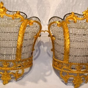 Crystal and Gilt Bronze Crown Sconces