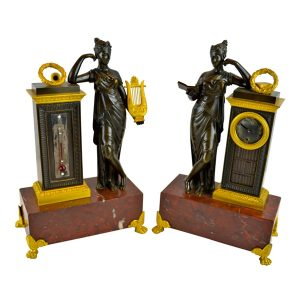 Empire Clock and Barometer Desk Set