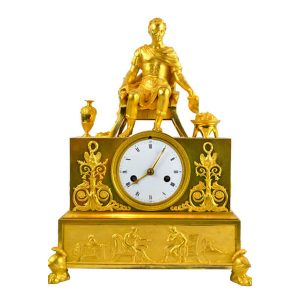 Empire Gilt Bronze Seated Caesar Clock