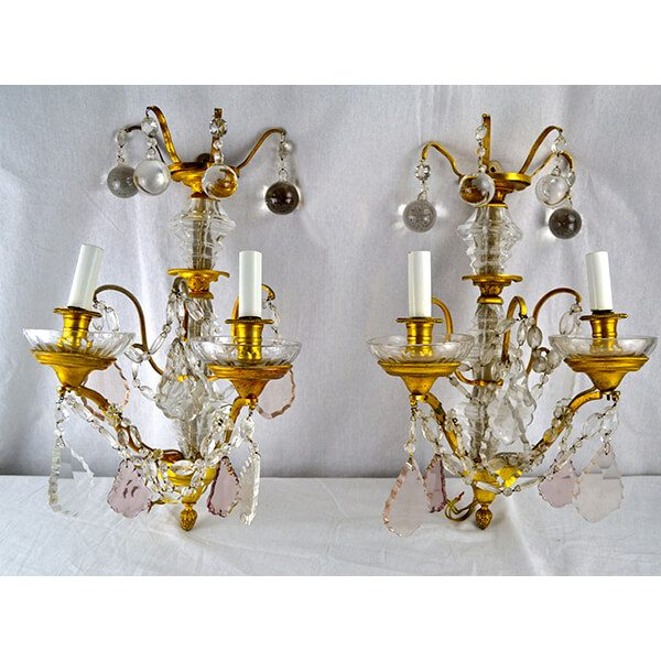 Louis XVI Style Crystal and Gilt Bronze Sconces