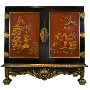 Ebonized Oriental Lacquer Commode