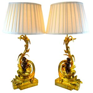 Louis XV Patinated Bronze Chenet Lamps