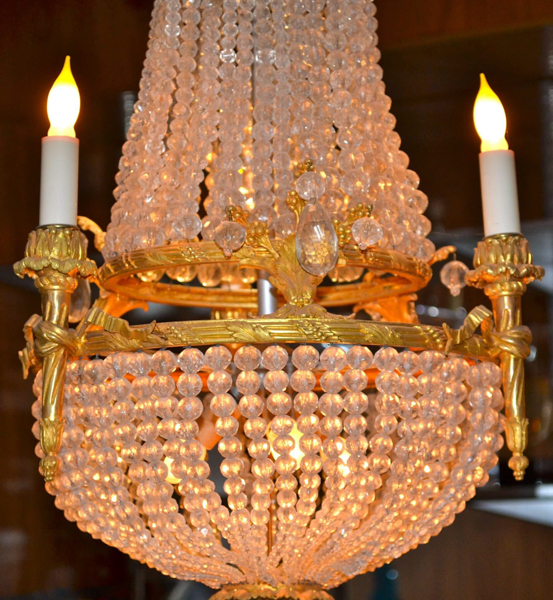 Empire Style Crystal and Gilt Bronze Chandelier