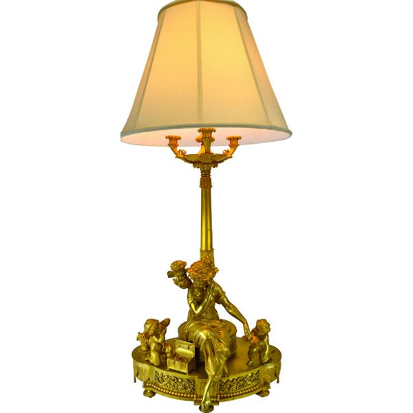 Louis XVI Style Gilt Bronze Figural Lamp