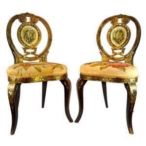 Victorian Abalone Inset Papier Mache Chairs