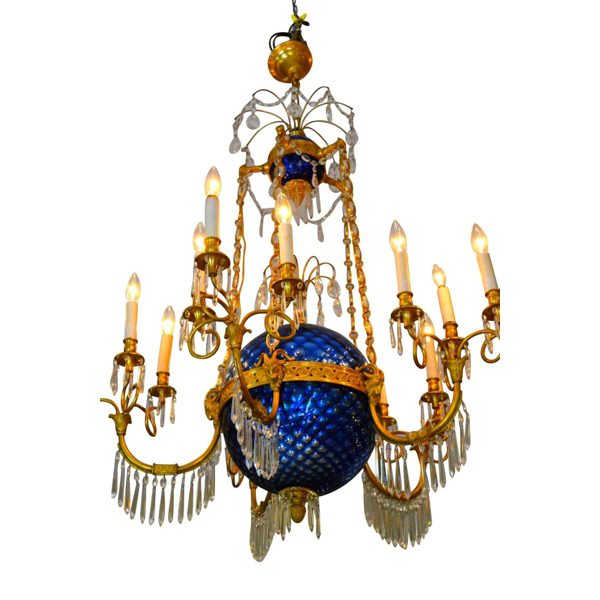 Empire style Blue Glass Globe Chandelier