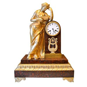 French Empire Clock Allegory to Clio