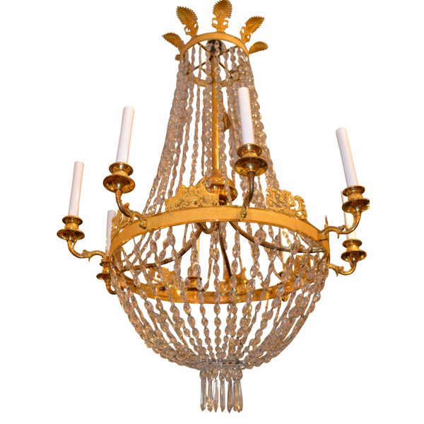 French Empire Gilt Bronze and Crystal Chandelier