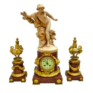 Griotte Marble and Terracotta Clock